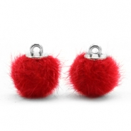 Pompom bedels 12mm fur faux Scarlet red