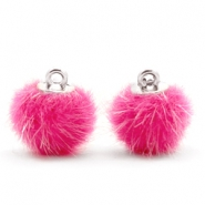 Pompom bedels 12mm fur faux Magenta pink