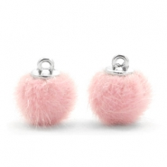 Pompom bedels 12mm fur faux Light pink