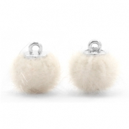 Pompom bedels 12mm fur faux Off white