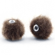 Pompom kralen 12mm fur faux Classic brown