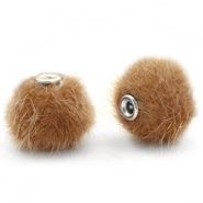Pompom kralen 12mm fur faux Vintage golden brown
