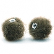 Pompom kralen 12mm fur faux Olive green