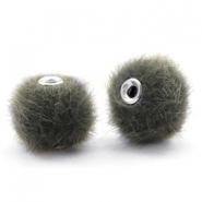 Pompom kralen 12mm fur faux Sage green