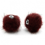 Pompom kralen 12mm fur faux Port red