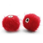 Pompom kralen 12mm fur faux Scarlet red