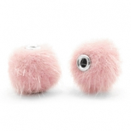 Pompom kralen 12mm fur faux Light pink
