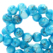 Glaskralen 6 mm gold line Turquoise blue-white