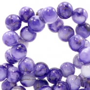Glaskralen 8 mm gold line Purple-white