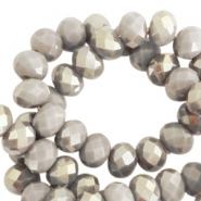 Facet kralen top quality disc 6x4 mm Greige taupe-half champagne pearl shine coating