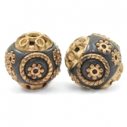 Kralen Bohemian 14mm Montana blue-gold