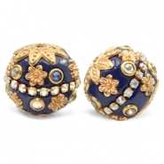 Kralen bohemian 20mm Dark blue-gold