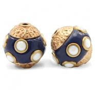 Kralen bohemian 14mm Dark blue-gold