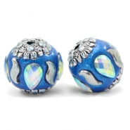 Kralen bohemian 16mm Olympic blue-silver crystal
