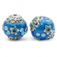 Kralen bohemian 16mm Olympic blue-silver