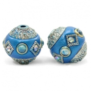 Kralen bohemian 14mm Olympic blue-silver