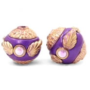 Kralen bohemian 14mm Purple-rosegold