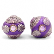 Kralen bohemian 14mm Purple-silver