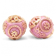 Kralen bohemian 14mm Metallic dark pink-gold