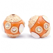 Kralen bohemian 14mm Mandarin orange-gold crystal
