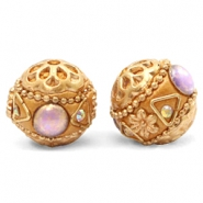Kralen bohemian 16mm Purple-apricot gold