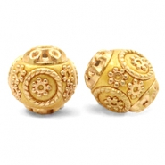 Kralen bohemian 14mm Mustard yellow-gold