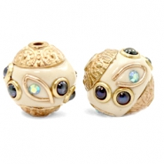 Kralen bohemian 14mm Beige-dark blue gold