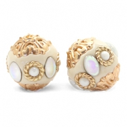 Kralen bohemian 16mm Beige-diamond coated white gold