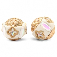 Kralen bohemian 16mm Beige-white crystal gold