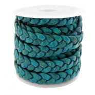 Plat leer 5 mm DQ gevlochten Teal green