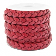 Plat leer 5 mm DQ gevlochten Rose red