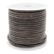 Leer DQ rond 1 mm Vintage taupe
