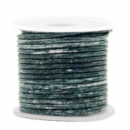 Leer DQ rond 2 mm Vintage barberry blue metallic
