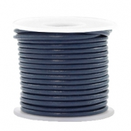 Leer DQ rond 2 mm Navy blue