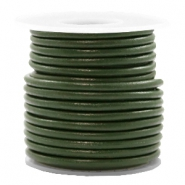 Leer DQ rond 3 mm Army green metallic