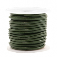 Leer DQ rond 2 mm Army green metallic