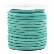 Leer DQ rond 3 mm Antique turquoise green
