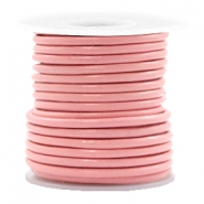 Leer DQ rond 3 mm Blossom pink metallic