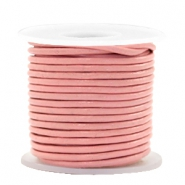 Leer DQ rond 2 mm Blossom pink metallic