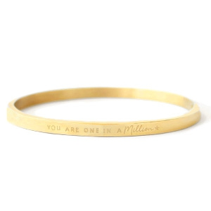 "Armbanden van Stainless steel Roestvrij staal (RVS) ""YOU ARE ONE IN A MILLION"" Goud"