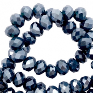 Facet kralen top quality disc 8x6 mm Dark blue-pearl shine coating