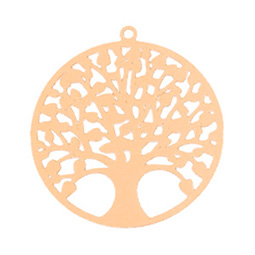 Bohemian hanger tree of life 25mm Rosegold (nikkelvrij)