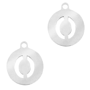 Bedels van Stainless steel Roestvrij staal (RVS) rond 10mm initial coin O Zilver