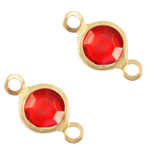 Metaal bedels DQ tussenstuk crystal glas rond 6mm Gold-Salsa red crystal