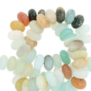 Halfedelsteen kraal rond disc 4mm Amazonite Turquoise multicolour