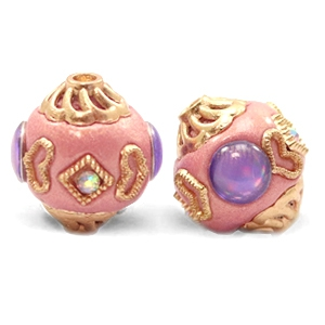 Kralen bohemian 14mm Sweet pink-purple gold